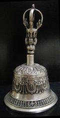 ◆チベット密教法具 ガンター(金剛鈴)シルバーカラーL