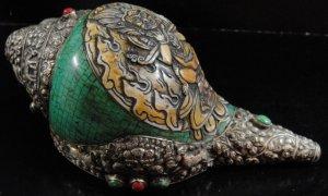 画像2: ◆チベット密教法具 法螺貝(シャンカ)silver925製マハーカーラ(大黒天)B