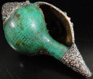 画像3: ◆チベット密教法具 法螺貝(シャンカ)silver925製マハーカーラ(大黒天)B