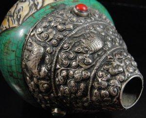 画像4: ◆チベット密教法具 法螺貝(シャンカ)silver925製マハーカーラ(大黒天)B