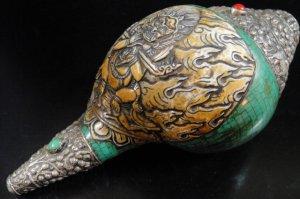 画像1: ◆チベット密教法具 法螺貝(シャンカ)silver925製マハーカーラ(大黒天)B