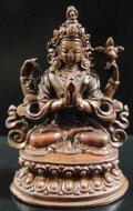 ◆六字咒観音菩薩 像◆仏教 チベット アンティーク風-SA