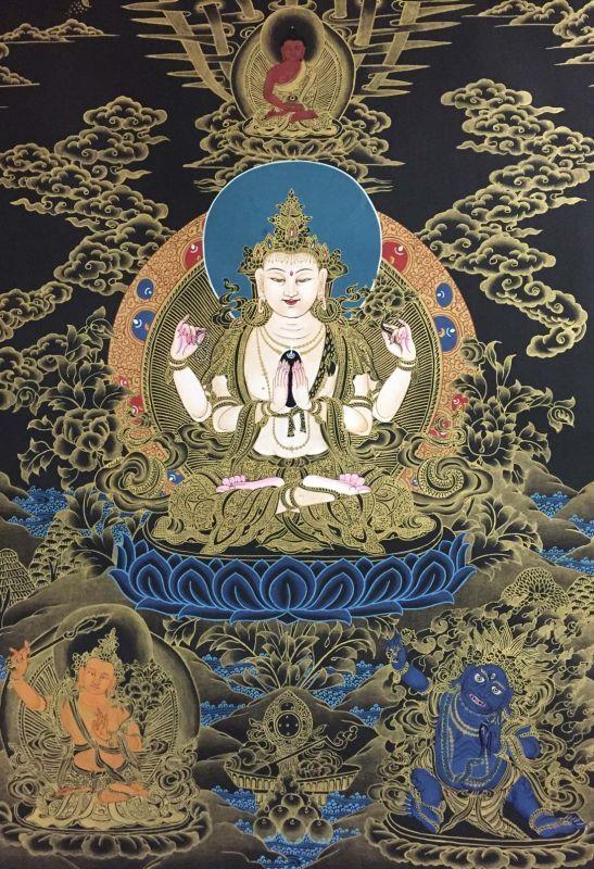 ◆六字咒観音菩薩タンカ/仏画/チベット-A2 - TashiTage【タシタゲ】