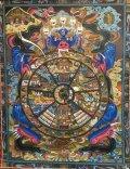 ◆六道輪廻図(Wheel of Life)/タンカ/仏画/曼荼羅/チベット-A