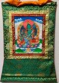 ◆グリーンタ−ラ(緑多羅菩薩)タンカ/仏画/曼荼羅/チベット