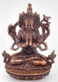 ◆六字咒観音菩薩像◆仏教 チベット◆アンティーク風-AZ
